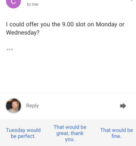 "Autoresponder interprets ""Monday or Wednesday"" as ""Tuesday""."